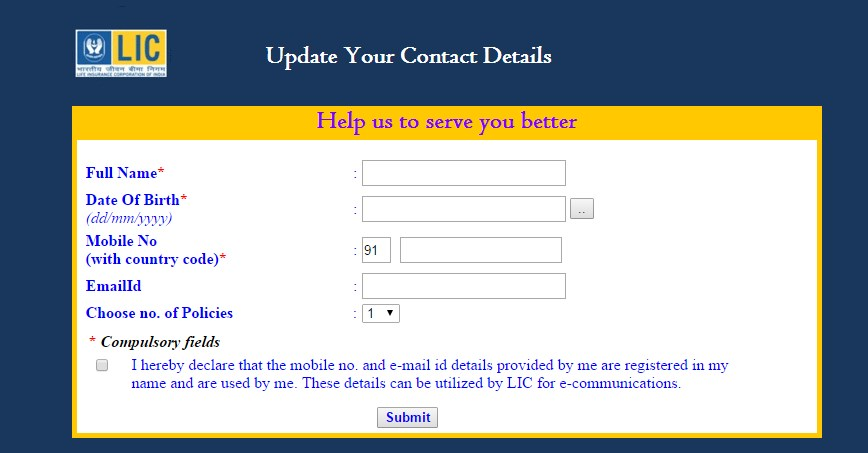 SMS and Email Communication messages by lic -Register Now